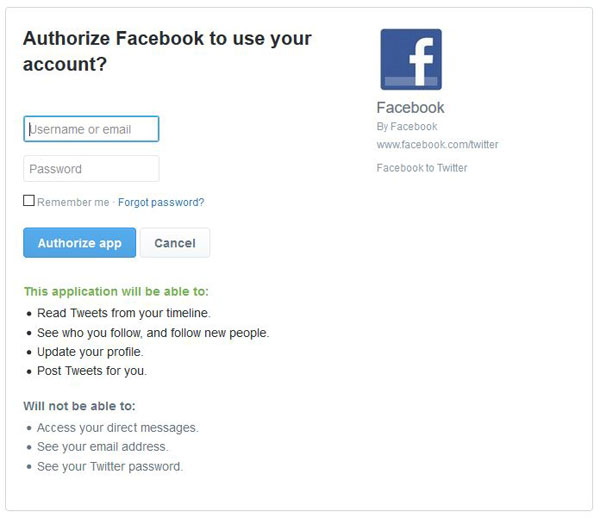 Authorize Facebook to Post on Twitter