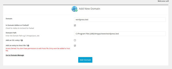 Add New Domain on AMPPS