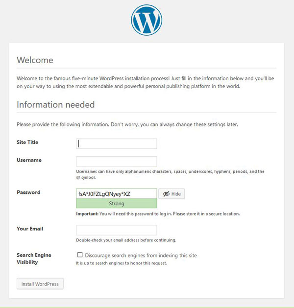 WordPress Installation Version 5.1.1