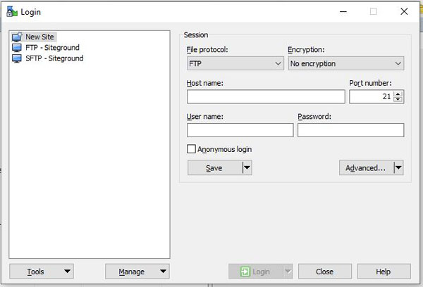 Transfer files to Siteground using  WinSCP